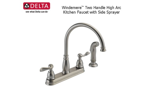 Windemere Two Handle High Arc Kitchen Faucet With Side Sprayer